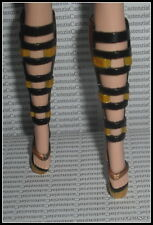 SHOES BARBIE MODEL MUSE 2010 JAPAN DOLL GOLD BLACK FAUX BUCKLE HIGH HEEL SANDALS