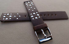 New Mens Studded Biker Brown 16mm Watch Band Stainless Steel Buckle $12.95