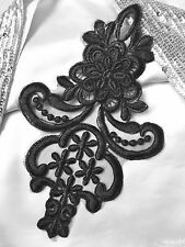 Black 3D Floral Embroidery Applique Motif Lace Trim --- EB0034  L25XW16cm