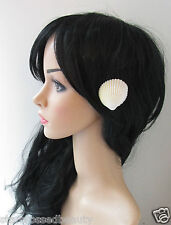 2 x Real Sea Shell Hair Clips Ivory Mermaid Beach Bridal Boho Wedding Slides L51