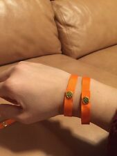 2x Tory Burch Ribbon Logo Snap Bracelet In Orange Color
