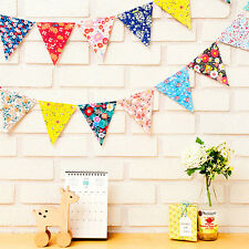 Party Time Happy Birthday Floral Paper Flags String Hanging Bunting Banner Home