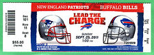 PATRIOTS TOM BRADY 4 TDS FULL/UNUSED TICKET-9/25/11-943 TOTAL YARDS-BUFF BILLS