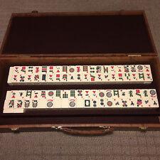 Set Mah Jong Chinese Mahjong Box Leather Tiles Wood Games Rare