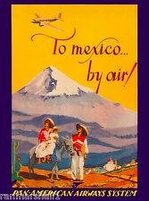 to Mexico Beach by Air Mexican Vintage Travel Advertisement Art Poster
