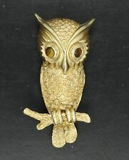 "ESTATE SOLID 14K GOLD SIGNED OWL PIN BROOCH w/ TIGER'S EYE EYES ~ 1.5"" * 9.5 g"