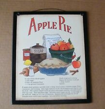 9x11 Wood Vintage Primitive Country Kitchen APPLE PIE Recipe Wooden Decor Sign