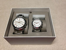 FOSSIL HIS & HERS MATCHING STAINLESS 2 TONE CHRONO WATCHES GIFT SET  BQ2180