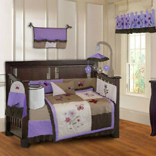 10 Piece Purple Blossom Girls Baby Crib Bedding (include musical MOBILE)