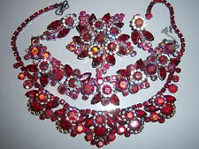 VTG JULIANA D&E RUBY RED AB RHINESTONE NECKLACE BRACELET BROOCH EARRING SET