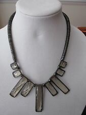 Runway Retro Faceted Clear Glass Japanned Necklace Vintage