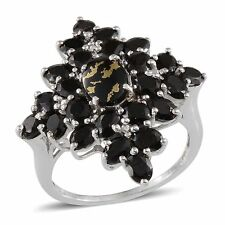 GOLDENITE , Thai BLACK SPINEL Cluster RING in Plat / Sterling Silver 6.75 Cts.