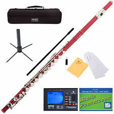 NEW MENDINI RED SCHOOL BAND STUDENT C FLUTE w/Split E