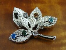 Vintage ANSON Multi Color Stones Sterling Silver 925 Brooch Pin
