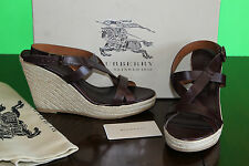 BURBERRY LEATHER STRIP ESPADRILLE SANDALS #10us $400