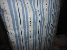 EDDIE BAUER HOME BLUE WHITE TICKING STRIPES AND DOTS QUEEN FLAT SHEET 82 X 96