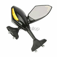 2 X LED Integrated Turn Signals Side Rear Mirrors For Yamaha YZF R1 FZ1 FZ6
