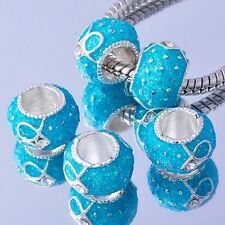 5 murano glass lampwork 18K silver Plated european charm beads for bracelet