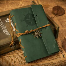 Handmade Travel Bound PU Leather Cover Notebooks Journals Diary book dark green-