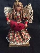 Designers at Crazy Mountain Cloth Angel Wood Face & Stand Crochet Wings Heart