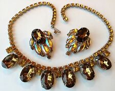 VINTAGE JULIANA LIGHT AND DARK TOPAZ RHINESTONE NECKLACE & EARRINGS M1