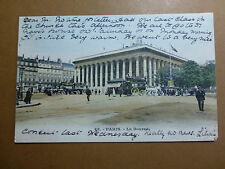 Lot007p c1904 PARIS - La BOURSE Stock Exchange POSTCARD Horsebus FRANCE