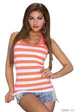 Ringer Top Tshirt Borte aus Spitze gestreiftes Tanktop Gr 38 NEON Orange Weiß