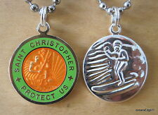 Saint Christopher Patron of Travel Surf Necklace,OR/LM Silver,Orange,Lime,Medium