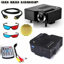 Mini Portable LED 3D Projector 1080P Multimedia Home Theater VGA USB HDMI SDCard