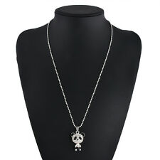 New Personalized Jewelry Silver Fashion Rhinestone Panda Pendant Chain Necklace