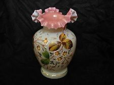 ANTIQUE FRENCH ENAMELED OPALINE GLASS VASE,NAPOLEON III PERIOD.