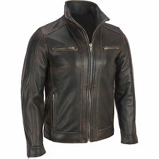 MEN'S BLACK RIVET LEATHER JACKET WITH DISTRESSED FADED SEAMS - BIKER JACKET