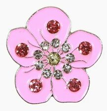 Pink Flower With Crystals Golf Ball Markers Package of 2 - W/ Magnetic Hat Clip