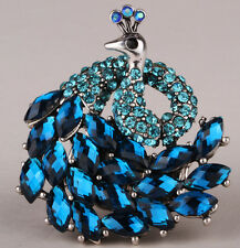 Peacock stretch ring animal bling scarf jewelry antique silver plated blue 9Q