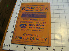 vintage Catalog: RICHMOND'S HARDWARE-dept. Store, 50pgs, 1942