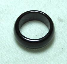 China natural black jade hand carved band ring size 10# free shipping