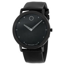 Movado Sapphire Black Dial Black Leather Mens Watch 0606884