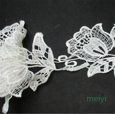 1 Yard Venise White Flower Lace Trim Wedding Bridal Dress Ribbon Applique Sewing