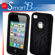 TOP Fire Design Silicone Cover Case For iPhone 4G 4GS + Screen Protector