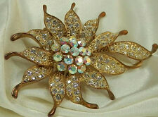 Super Sparkly Vintage 80's-Mod Rhinestone Flower Large And Showy Brooch 709F6