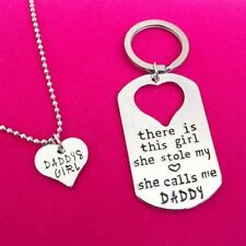 Silver Letter Heart Keychain Necklace Daddy Daughter Father Girls Family Gifts