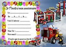 5 cartes invitation anniversaire  Lego pompier 02   d'autres en vente !!