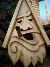 Bird House Hand Carved Stogie Face Wood Spirit 16""