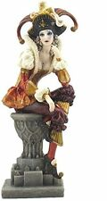 "10.5"" Sitting Female Jester Statue Figure Figurine Circus Decor"