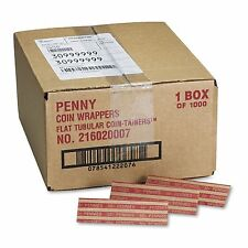 1000 FLAT COIN WRAPPERS PENNIES Pop-open Kraft Sorter Roll Currency Value Money