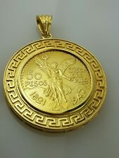 50 peso Mexican coin pendant / necklace  centenario Gold Plated Versace rame