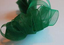 *** GREEN ORGANZA  -  XMAS  Ribbon - 10mm Wide ***