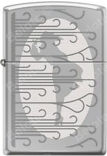 Zippo Engraved Windy Girl Silhouette High Polish Chrome Windproof Lighter NEW