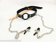 """PVC Black Strap O RING 1.7"""" inch Keep Open Mouth Party Gag & Nipple Clip Set"""