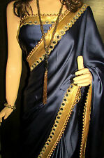 KC Saree Designer Lovely Party Wear Blue wid New Mirror Border Blouse On Sale